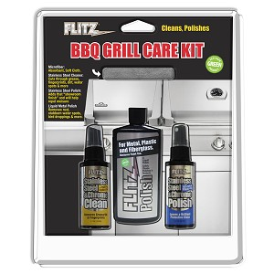 Flitz BBQ Grill Care Kit w/Liquid Metal Polish, Stainless Steel Cleaner, Stainless Steel Polish/Protectant Towelettes & Microfiber Cloth