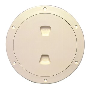 Beckson 6'' Smooth Center Screw-Out Deck Plate - Beige